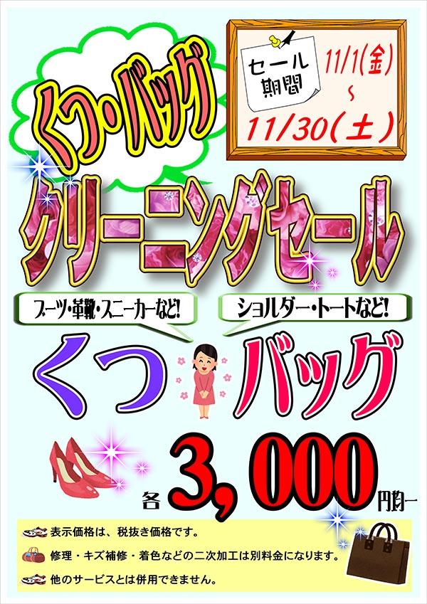クリーニングのキャロット くつ・バッグ クリーニングセール[2019年11月1日(金)~ 2019年11月30日(土)]